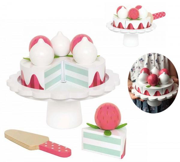 Leckerer Erdbeer-Kuchen mit Tortenteller aus Holz (Weiß-Rot)