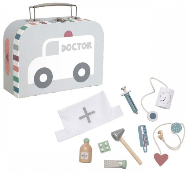 Süßer Doktorkoffer mit Arzt-Utensilien aus Holz (Grau-Weiß)