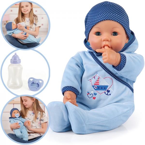 Baby-Puppe Hello Baby Boy mit Funktionen 46 cm (Blau)