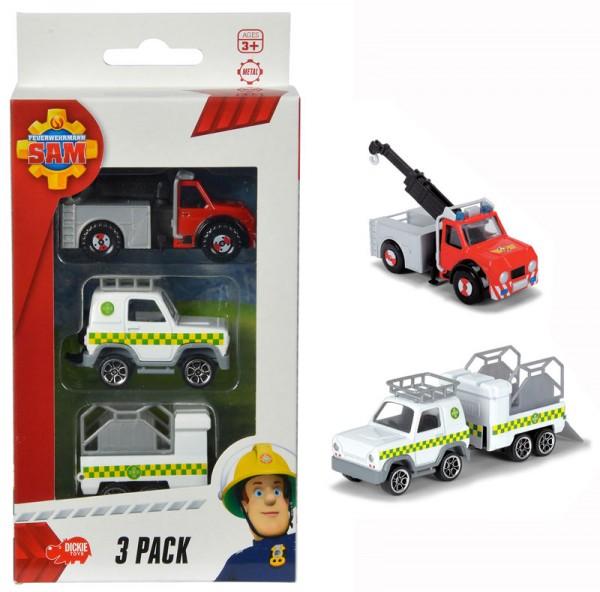 Feuerwehrmann Sam 3er Pack Phoenix, Geländewagen und Anhänger