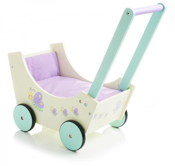 Holzpuppenwagen Speedy Schmetterling (Pastell)