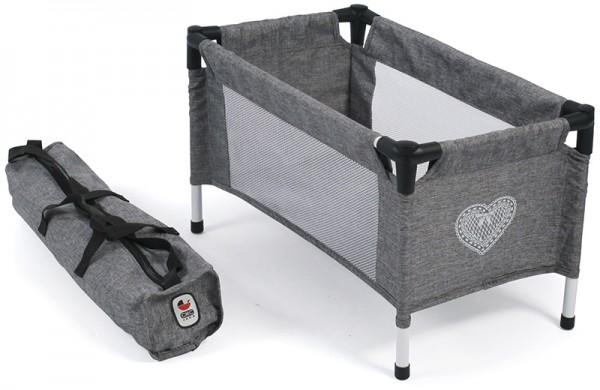 Puppenreisebett mit Tasche (Jeans Grey)