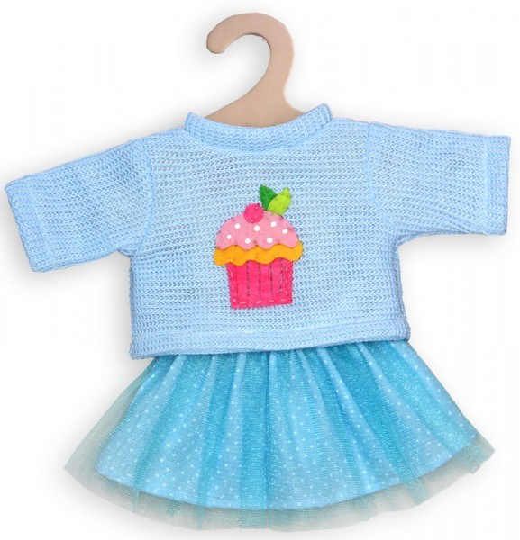 Kleidungsset Tüllrock mit Pullover Cupcake Gr. 35 - 45 cm (Hellblau)