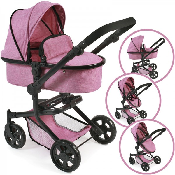 Puppenwagen Mika 2in1 (Jeans Pink)