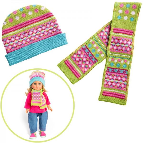 Kleidungsset Mütze & Schal Froschi Gr. 35 - 45 cm (Pink-Grün)