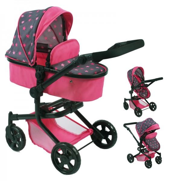 Puppenwagen Mika 2in1 (Sternchen Pink)