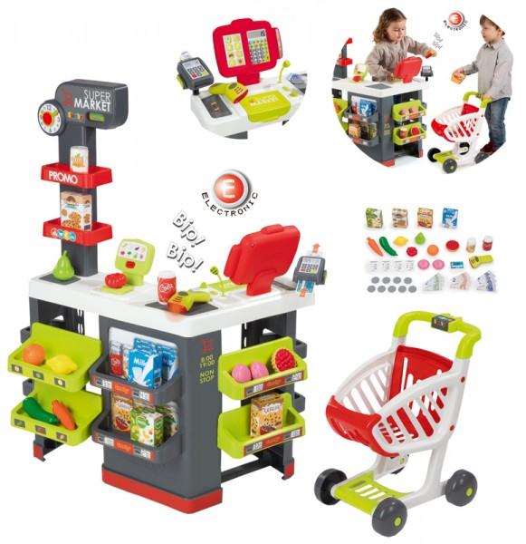 Großer Supermarkt mit Einkaufswagen (Rot)
