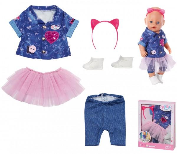 Baby Born Deluxe Jeans Kleid Set 43 cm (Blau-Pink)