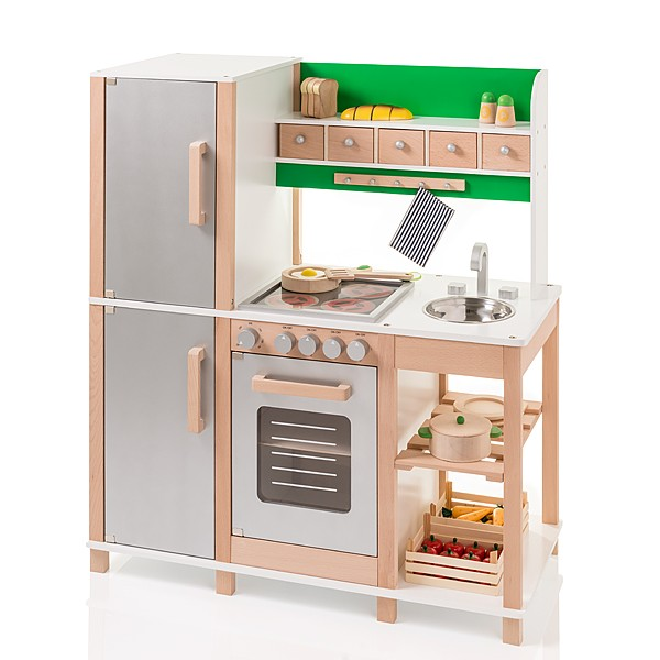 Große Kinderküche aus Holz (Buche-Grün)
