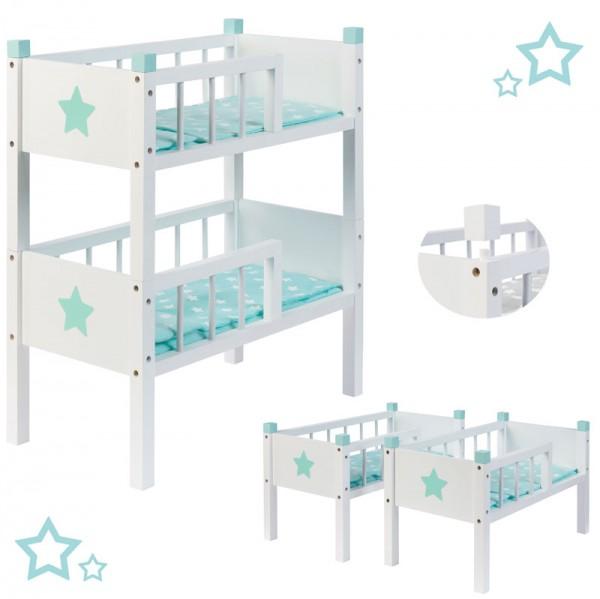 Puppenetagenbett Sternchen aus Holz mit 2 Betten Stapelbar (Weiß-Mint)