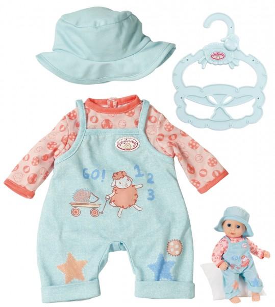 Baby Annabell Little Babyoutfit Latzhose mit Shirt 36 cm (Blau-Aprikot)