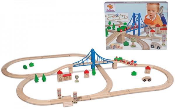 Eisenbahn-Set mit Hängebrücke 55-teilig
