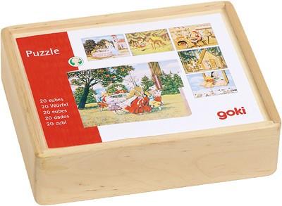 Würfelpuzzle im Holzkasten Märchen