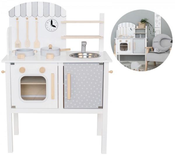 Spielküche aus Holz mit Zubehör (Weiß-Grau)