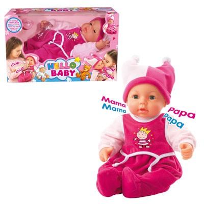 Baby-Puppe Hello Baby mit Funktionen 46 cm (Pink)