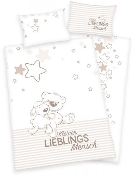 Renforce Kinder-Bettwäsche Jana Lieblingsmensch 100 x 135 cm (Weiß-Braun)