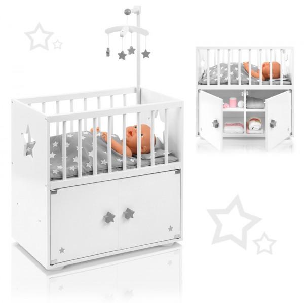 Puppenbett mit Schrank und Mobile Sternchen (Weiß-Grau)