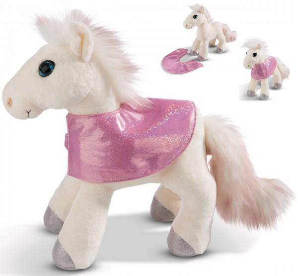 Stehendes Kuscheltier Pferd White Peach mit Satteldecke 25 cm (Creme-Rosa)