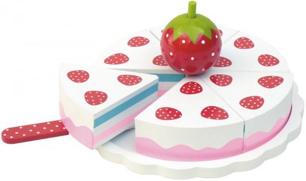 Erdbeer-Torte aus Holz (Weiß-Rot)