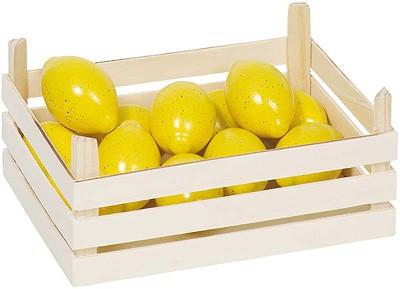 Holzkiste mit Zitronen
