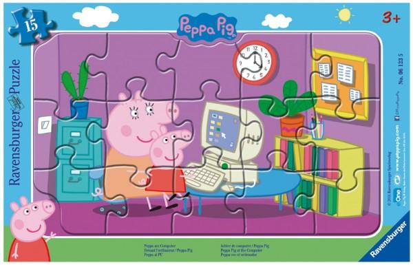 Rahmenpuzzle Peppa Pig, Peppa am Computer mit 15 Teilen