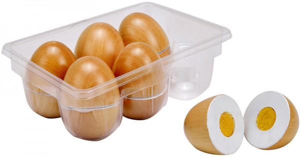 6 Eier aus Holz