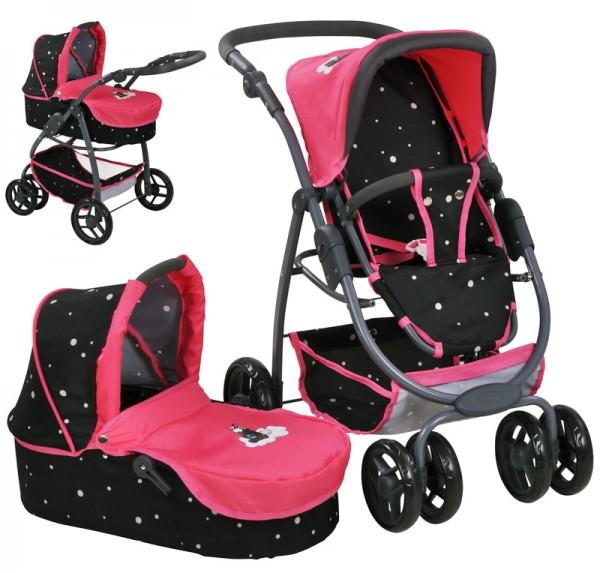 Puppenwagen Coco 2in1 Einhorn Nici Theodor Carbon (Pink Schwarz)