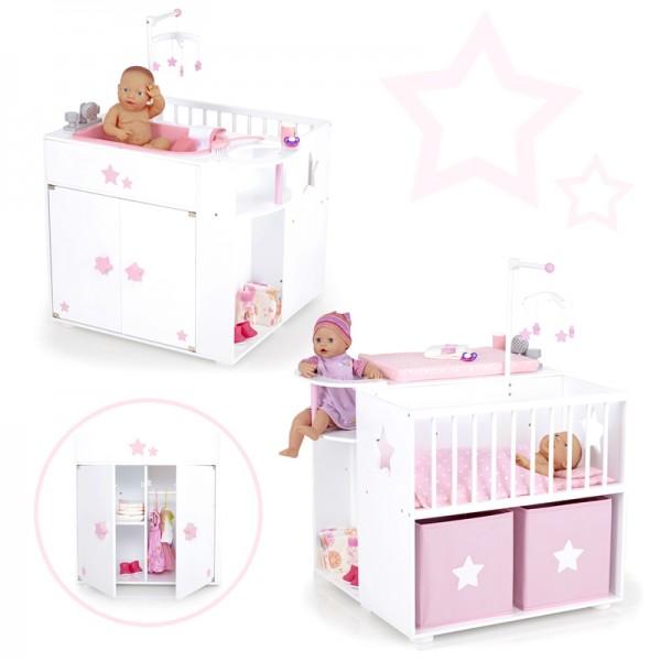 Großes Puppenpflegecenter 5in1 Sternchen aus Holz (Weiß-Rosa)