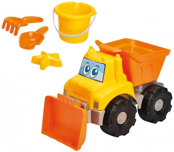 Großer Muldenbagger mit Räumschild und Sandspielzeug