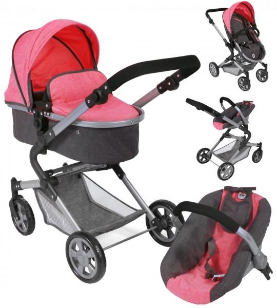 Puppenwagen Lia Kombiwagen 3in1 mit Autositz (Melange Anthrazit-Pink)