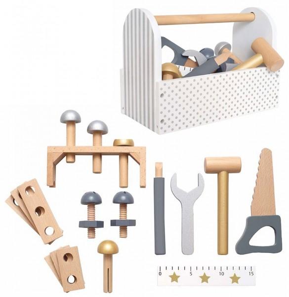 Werkzeugkiste mit Werkzeug aus Holz (Weiß-Silber)
