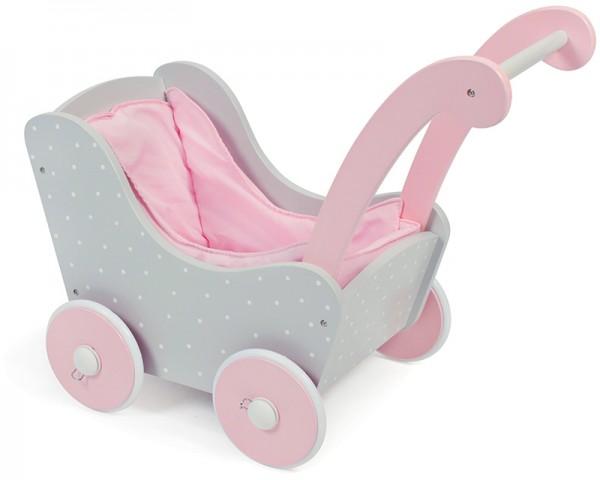 Holzpuppenwagen Puntos Grey (Rosa-Grau)