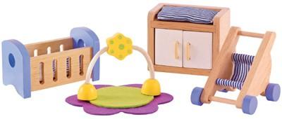 Puppenhaus Modernes Babyzimmer (Natur-Blau)