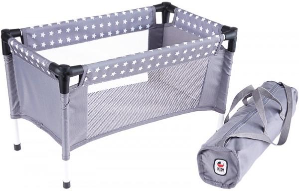 Puppenreisebett mit Tasche Sternchen (Grau-Weiß)
