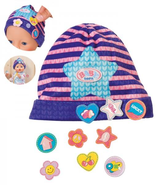Baby Born Mütze mit Batches Stern 43 cm (Lila-Pink)