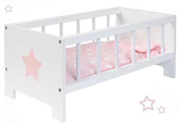 Puppenbett Sternchen aus Holz (Weiß-Rosa)