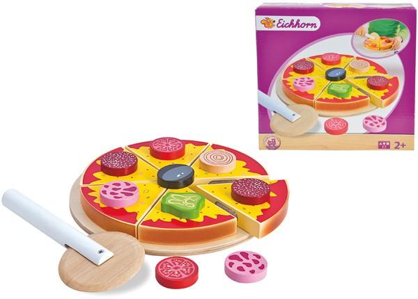 Pizza aus Holz mit Zubehör