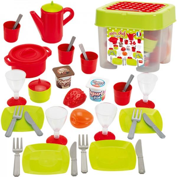 Box mit Geschirr für Kinderküche