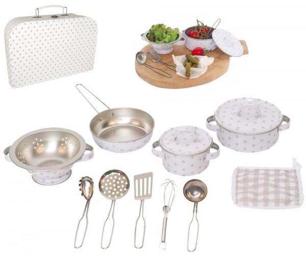 Koffer mit Töpfen und Küchenzubehör aus Metall (Weiß-Grau)