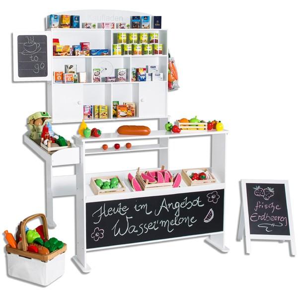 Kaufmannsladen mit Tafel und Kundenstopper Version 2 (Weiß)