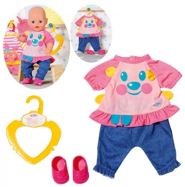 Baby Born Kleines Freizeit Outfit 36 cm mit Schuhen (Rosa-Blau)