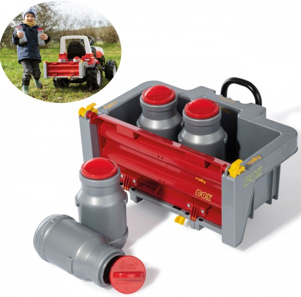 RollyBox Transportbehälter Box mit 4 Milchkannen für Traktoren (Grau-Rot)
