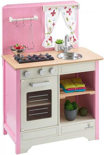 Spielküche Lavandula aus Holz im Landhausstil (Creme-Rosa)