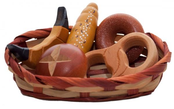 Korb mit Backwaren aus Holz Spiellebensmittel