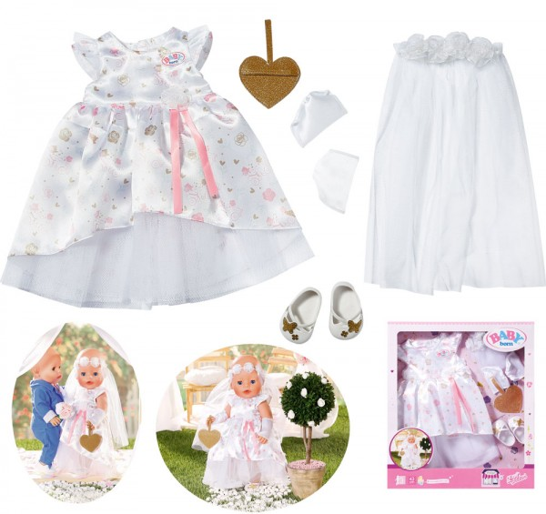 Baby Born Boutique Deluxe Braut Hochzeitskleid 43 cm (Weiß)