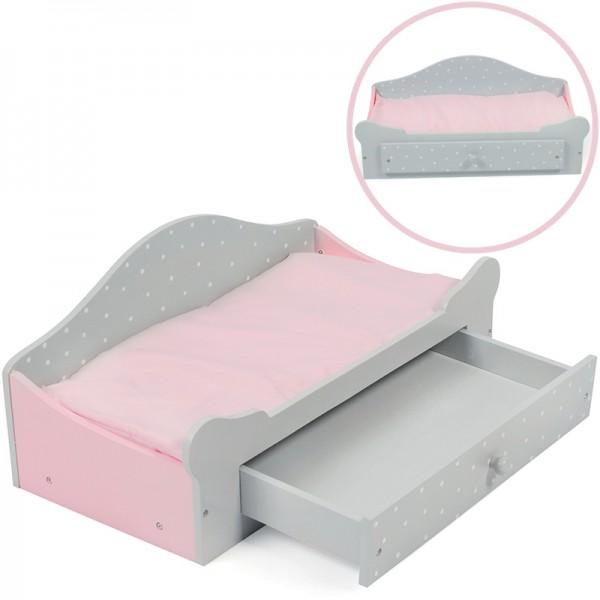 Puppenbett mit Bettkasten Puntos Grey (Rosa-Grau)