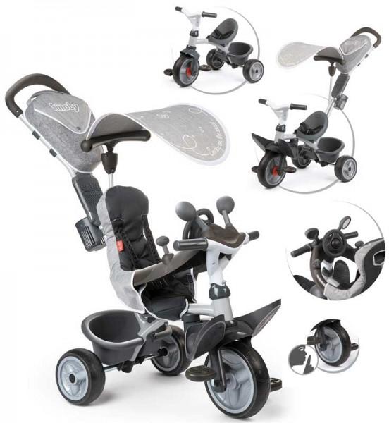 Dreirad Baby Driver Komfort II mit Lenkstange und Sonnendach (Grau)