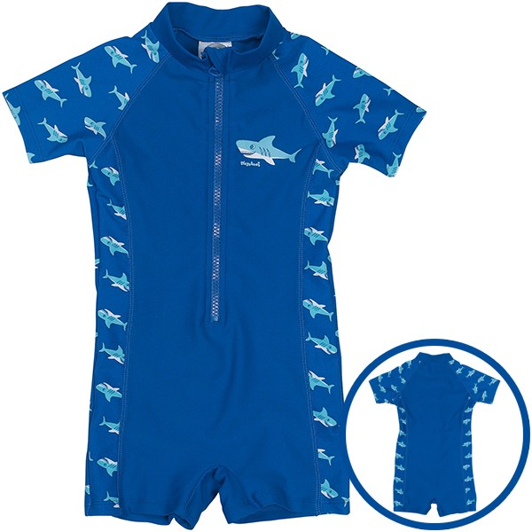UV-Schutz Bade Einteiler Hai Gr. 110/116 (Blau)