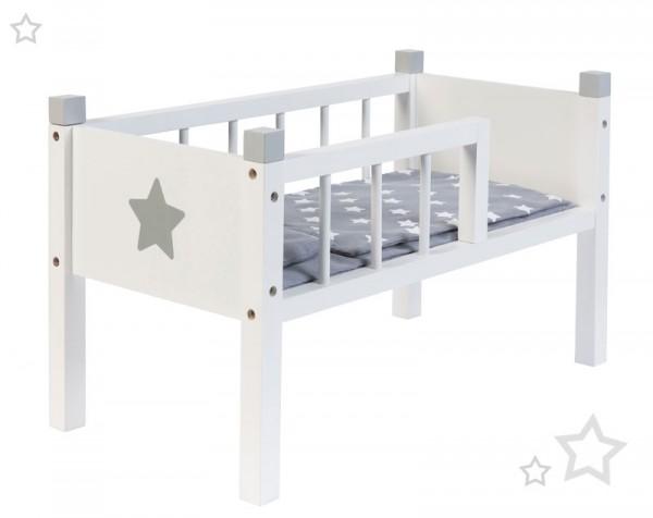 Puppenbett Sternchen aus Holz Stapelbar (Weiß-Grau)