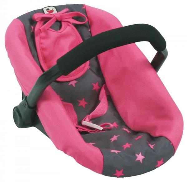 Puppenautositz mit Lätzchen (Sternchen Pink)